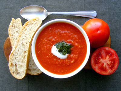 Roasted organic tomato soup